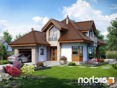 projekt Dom w rukoli (N) lustrzane odbicie 1 Casas Country, Modern Bungalow House, Cottage Style Homes, Modern Architecture House, House Roof, Home Fashion, Cozy House, My Dream Home, House Plans