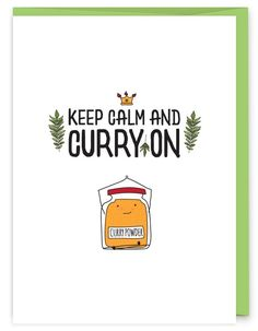 Calm and Curry On Keep Calm and Curry On Greeting Card - part of an herb pun collection from Print Farm Paper Co. MoreKeep Calm and Curry On Greeting Card - part of an herb pun collection from Print Farm Paper Co. Funny Food Puns, Food Jokes, Punny Puns, Cute Puns, Puns Jokes, Memes, Funny Humor, Herb Puns, Keep Calm