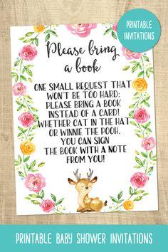 Deer baby shower invitations | pink | forest | wilderness | printable | girls baby shower