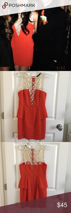 Peplum Dress with Lace Not free People tagged for exposure. Ark & Co. dress with lace mesh front. Worn once for formal. No flaws. Wear me for any going out occasion! Make an offer😊 Dresses Mini