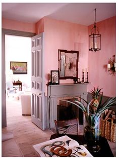 Pink Living Room - love this shade of pink