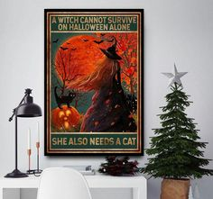 Witch cannot survive on Halloween alone she also needs a cat poster canvas wall decor Halloween Wall Decor, Halloween Gifts, Canvas Wall Decor, Canvas Art, Cat Posters, Alone, Crates, Witch, Kitten