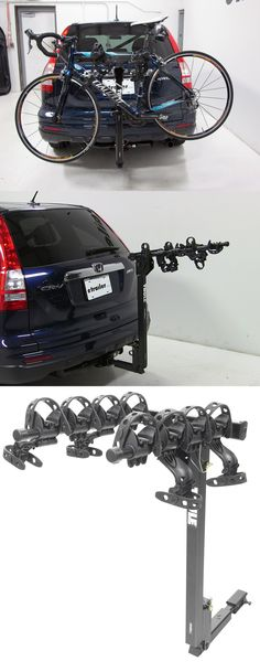 Thule hitch bike rack with anti-sway cradles, a titling mast, folding arms and universal compatibility - including the Honda CR-V. Traveling with your to your cycling destination is a piece of cake!