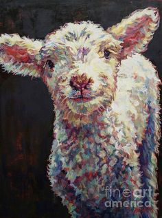 Sheep, Lamb, baby animal, Dorset Sheep, animal,art, painting, oil painting, oil on linen, Griffin, Patricia A Griffin