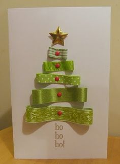Oh, so clever, ribbon loops to make a Christmas tree!