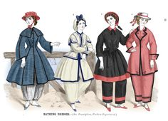 Bathing suits, Jul 1864 US, Godey's Lady's Book  Colored by me according to this description:    Fig. 1.—Turkish pants of a gray and white striped material, fastened at the ankle with an elastic cord.  Paletôt dress of a dark blue and black flannel, made with a small cape, and trimmed with black mohair braid.  Oil silk hat, bound and trimmed with scarlet binding.  Fig. 2.—Suit of pearl-colored flannel, trimmed with dark blue flannel, and braided in a plain Grecian pattern with narrow blu