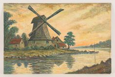 Dutch landscape with Windmill by Charles Bowen-Sims