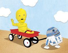Star Wars Kids - C3PO & R2D2 Red Wagon by Nixon Graphix