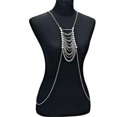 Silver Crystal Rhinestone Accented Multi-Tier Body Chain Body Jewelry