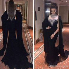 2017 Haifa Wahbe Beaded Black Evening Dresses Sexy Cape Style Latest Mermaid Evening Gowns Dubai Arabic Party Dresses Real Pictures Mermaid Wedding Dress Long Sleeve Wedding Dresses Lace Wedding Dress Online with $158.86/Piece on Kazte's Store   DHgate.com