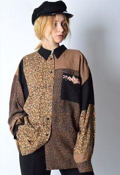 Vintage+80s+Flower+Print+Long+Sleeve+Shirt