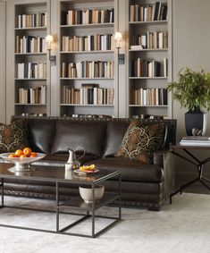 Traditional leather sofa by Bernhardt.