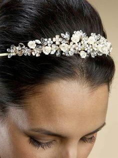 Brushed Gold and Champagne Bridal Tiara
