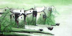 Water Township - Chinees schilderij - Artisoo
