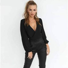 2018 Chiffon Blouse Sexy Deep V-neck Back Hollow Bow Club Party Tops Backless Top, Long Sleeve Crop Top, Long Sleeve Shirts, Cropped Top, Top Dos Nu, Chemises Sexy, Sexy Bluse, Bow Shorts, Sexy Shirts
