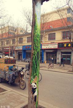 In China malen sie Bäume an | #WangYue #Streetart