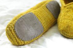 zapatos de dormir, pantuflas tejidas, suela