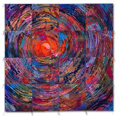 """NEST II  2002 - 62"""" x 62""""  dye and paint on silk, fused, mono-printed, machine quilted  Private Collection, St. Peter's, MO  Sue Benner"""