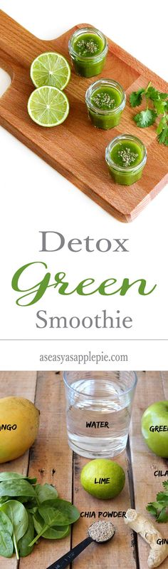 A simple detox green smoothie, loaded with fresh fruits and veggies. Only 70 calories and super easy for breakfast!