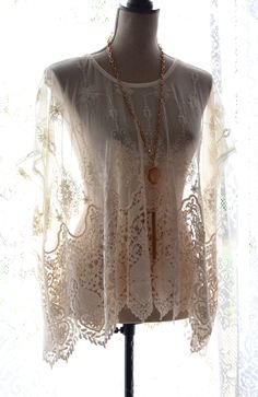 Vintage french lace top, boho clothing, bohemian tunic        https://www.etsy.com/listing/205215020/romantic-ivory-vintage-lace-tunic-sheer?