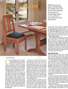 Cherry Dining Chair Plans - Furniture Plans and Projects - Woodwork, Woodworking, Woodworking Plans, Woodworking Projects Dinning Chairs, Dining Bench, Woodworking Plans, Woodworking Projects, Furniture Plans, Cherry, How To Plan, Home Decor, Chairs