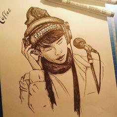 #draw #sketch #pigmamicron #kpop #rapmonster #bangtanboys #coffee