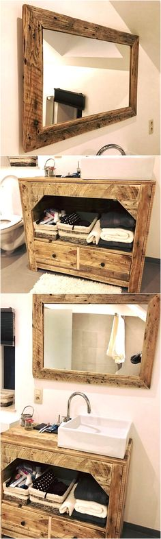 No one should ignore decorating the bathroom because it is an area where a person spends some time every day to take a bath, so the area should be appealing. Here is the idea for creating the wood pallet cabinet of bathroom and mirror: