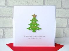 Luxury Christmas card with wooden Christmas tree  Merry