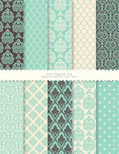 "Damask Digital Scrapbook Paper Pack (8.5x11""-300 dpi) -- 10 Digital papers -- 329. $3.00, via Etsy."