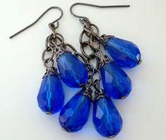 25% Off with Coupon Code Sale Brilliant Blue Dangle Bead Earrings Handmade Elegant Rhinestone Jewelry