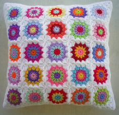 25 colors in white crochet granny square cushion by handmadebyria