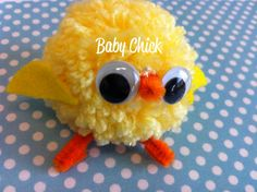 Easy Easter Chicks Made with Yarn Pom Poms - Finished Pom Chick