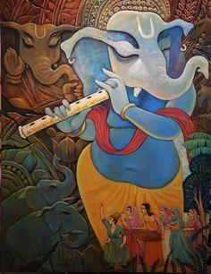 Buy Ganesha artwork number a famous painting by an Indian Artist Savita Kumari. Indian Art Ideas offer contemporary and modern art at reasonable price. Indian Art Paintings, Modern Art Paintings, Buy Paintings, Acrylic Paintings, Beautiful Paintings, Lord Ganesha Paintings, Ganesha Art, Shri Ganesh, Krishna Krishna