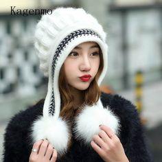 Kagenmo invierno femenina Sombrero hecho punto sombrero hecho punto ocasional del todo-fósforo dulce de piel de conejo de punto hembra sombrero caliente del invierno que hace punto tapas