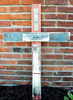 Rustic Hand-Crafted Wooden Cross Made From Reclaimed Pallet Wood (Glory). $24.00, via Etsy.