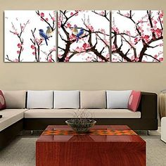 Landscape Canvas Print Stretched Canvas Print Three Panels Ready to Hang – USD $ 59.49
