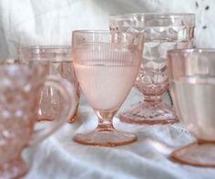 Pink vintage pink glassware
