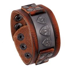 Cool Mens Punk Charm Genuine Leather Wide Bracelet Cuff Wristband Bangle Brown  #Unbranded #Bangle