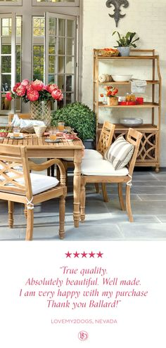 Where to find patio dining sets? Shop patio dining sets, outdoor table and chairs, and outdoor furniture sets at Ballard Designs! Teak Dining Table, Dining Arm Chair, Patio Dining, Outdoor Dining, Dining Room, Outdoor Stone, Dining Sets, Outdoor Areas, Outdoor Rooms