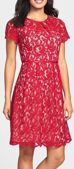 Red lace scalloped dress. @roressclothes closet ideas #women fashion outfit #clothing style apparel