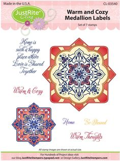 Justrite Stampers Warm & Cozy Medallion Lables