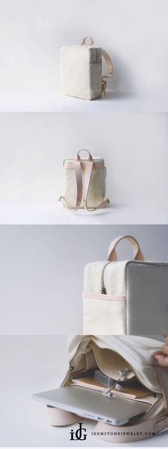 Sewing Bags For Women Handmade Leather Canvas Backpacks School Bags Rucksack Women - Leather Backpack Pattern, Leather Laptop Bag, Leather Messenger Bags, Leather School Bag, Leather Bag, Laptop Bag For Women, Laptop Bags, Laptop Backpack, White Backpack
