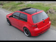 Gloss Black Vinyl Wrapped Flash Red MK4 Roofs