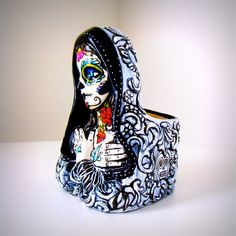 Tattoo Mary Planter Day of the Dead Hand Painted by sewZinski