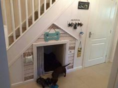 Dog house under stairs – love it! Dog house under stairs – love it! Under Stairs Dog House, Dog Bedroom, Dog Spaces, Living Spaces, Dog Rooms, Dog Crate, House Plans, New Homes, House Design
