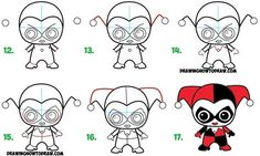 Learn How to Draw Cute Chibi / Kawaii Harley Quinn from DC Comics in Simple Steps Drawing Lesson for Kids & Beginners