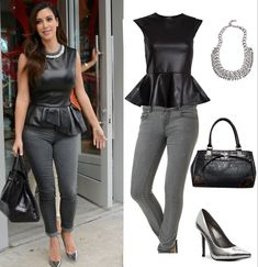 Kim Kardashian Look for Less Leather Peplum Top, Gray Skinny Jeans & Silver Pumps