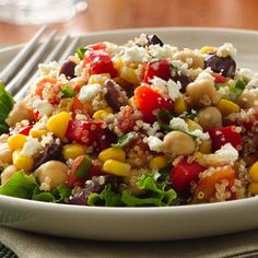 Gluten-Free Quinoa and Vegetable Salad using Green Giant veggies. Enjoy the fresh flavors of this colorful main dish salad made with quinoa, beans, cheese and lots of veggies. Gluten Free Recipes, Vegetarian Recipes, Cooking Recipes, Healthy Recipes, Healthy Dishes, Chef Recipes, Vegan Meals, Great Recipes, Favorite Recipes