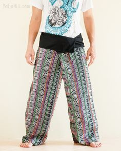 Our original one-of-a-kind fisherman pants, individually handmade. Made from rare Hmong embroidery pattern cotton fabric, they are attractive pieces of art with practical use that you can wear everyday. Thai Fisherman Pants, Burning Man Outfits, Hippie Pants, Handmade Clothes, Cherokee, Parachute Pants, Harem Pants, Cotton Fabric, Feather