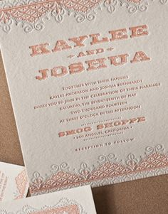 PATISSERIE | Umi 2, Letterpress Wedding Invitations | Elum Designs, Letterpress Stationery, Invitations & Curator of Designer Paper Goods. Nothing short of small works of art. Antique lace inspired artwork is kicked up a notch when paired with bold distressed typography, hip, trend-setting, urban, airy vintage inspired lace artwork, mango
